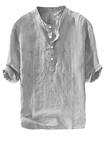 Henley Linnen overhemd met korte mouwen, voor heren, katoen, vrije tijd, vissershemd, licht, slim fit, casual shirt, zomertops