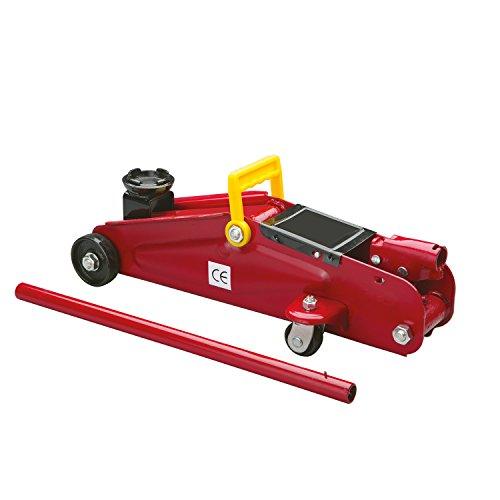 Cartrend 7740014 Hydraulische garagekrik 2 ton krik, traploos regelbare verlaging van kwaliteitsstaal