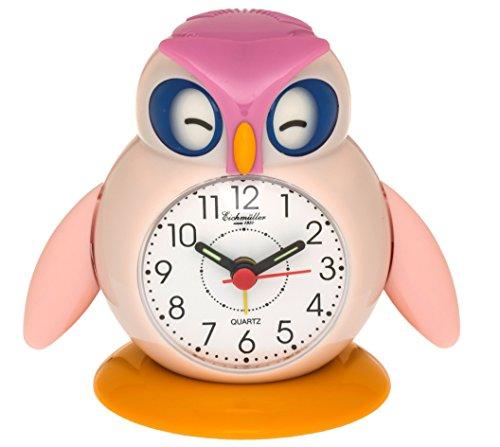 Eichmüller Kinderwekker uil roze analoge wekker met alarm snooze en licht