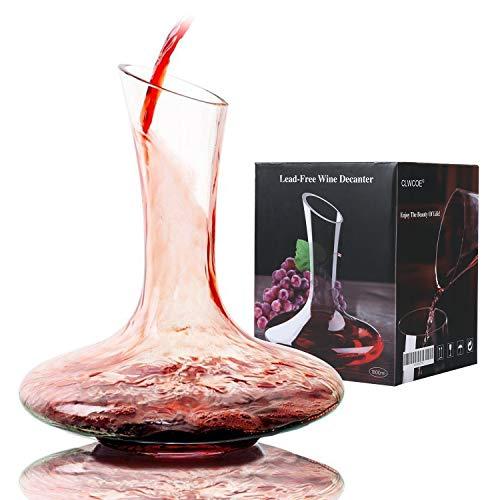 Wijnkaraf - GWCLEO loodvrij glas 1,8 liter wijnkaraf, kristalheldere wijnbeluchter, gemakkelijk giet ontworpen container voor het decanteren van rode wijnen met een capaciteit van 1,8 l/1800 ml/1800 cc