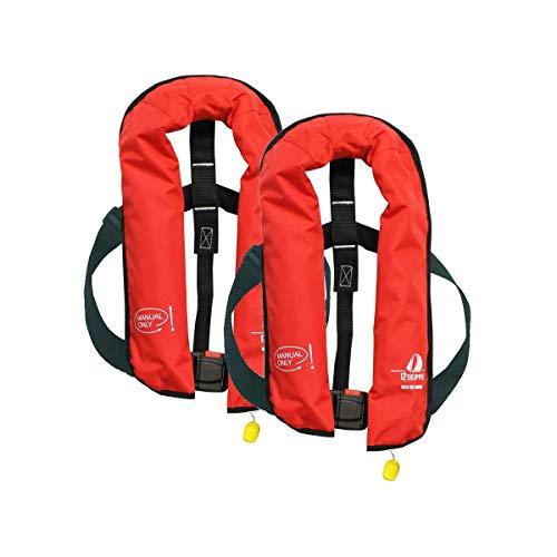 12skipper Set van 2 automatische reddingsvesten 165N/300N ISO UML | versch. varianten (rood, 165N harnas)