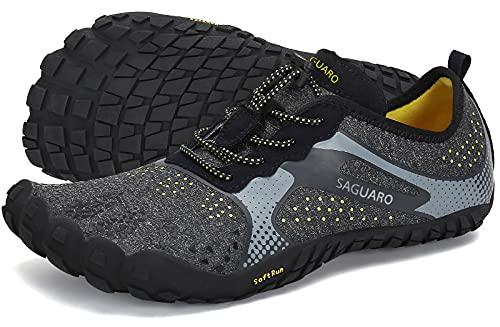 SAGUARO Trailrunning Schoenen Heren Dames Barefoot Minimalistische Loopschoenen Zomer Trekking- & Wandelschoenen Lichtgewicht Sportschoenen voor Sportschool Fitness Krachttraining, Zwart, 36 EU