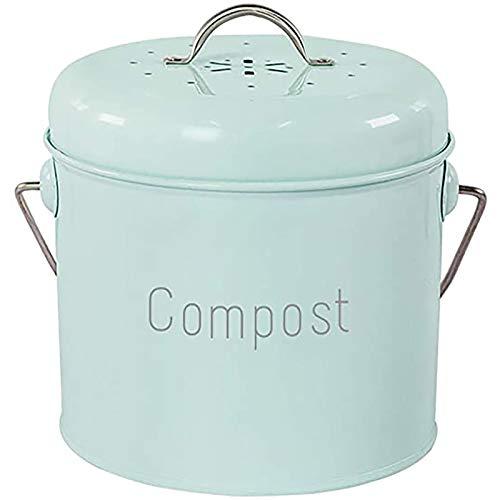 XLAHD Compostbak - compostbak gemaakt van roestvrij staal voor keukenwerkbladen keukentafel compost verzamelen container keukens, antiek crèmekleurig, voor voedsel/fruit/noten afval recycling, groen