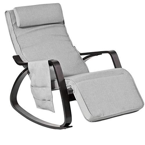 SoBuy FST20-HG Schommelstoel | Relaxfauteuil Comfortabel | Verstelbaar | Belastbaarheid 150 kg | Grijs