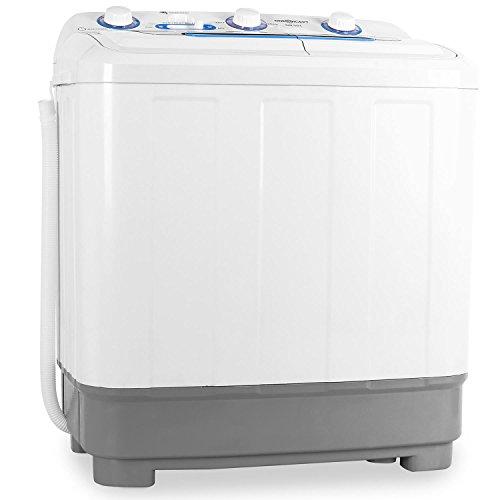 oneConcept DB004 - mini-wasmachine, camping-wasmachine, wasmachine voor singles, 4,8 kg volume, centrifuge, 380 W wasvermogen, 160 W centrifuge-vermogen, timer, wit