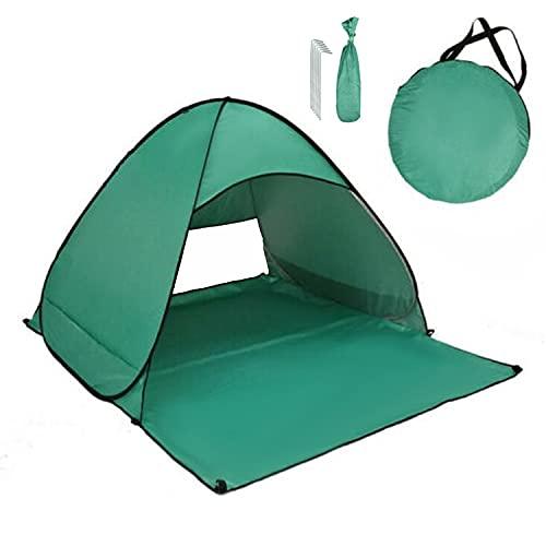 JU SHUN Outdoor Automatische Pop Up Strandtent, Draagbare Lichtgewicht Anti-UV Tent, Gemakkelijk Opzetten Strand Zon Schuilplaatsen Tent voor Familie Picknic, Strand, Tuin, Vissen. (donkergroen)