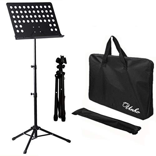 Malayas® Noten Pult Orkesterpult geperforeerde plaat staander gatenpaneel muziekstandaard luxe muziekstandaard met muziekklemmen, afneembare plank, 2 veerklemmen, uittrekbaar van 80 cm tot 150 cm zwart