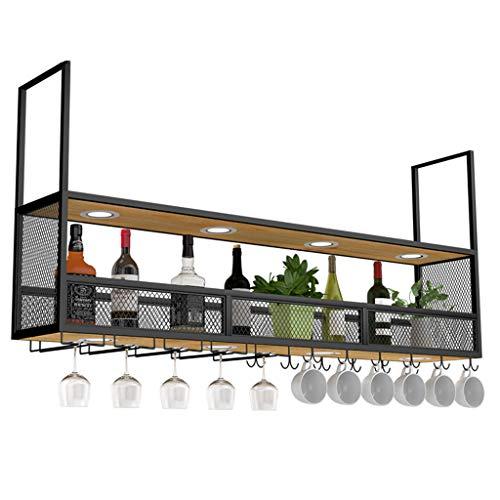Ordenen Keuken Retro plafond multifunctioneel wijnrek met schijnwerpers, metalen wandhangende wandplankfles en glazen opbergrek voor commercieel en huishoudelijk gebruik Commerciële Kelders Clubs