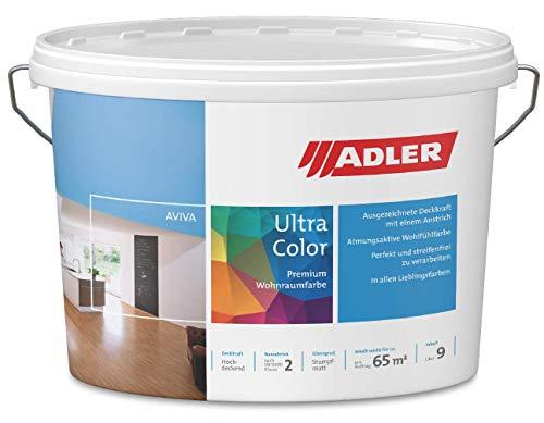 ADLER Ultra-Color muurverf - eersteklas matte muur- en plafondverf diepwater C12 062/2 hoge dekking, ademend, oplosmiddelvrij - blauw - 1 l - in 100+ pasteltinten