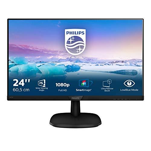 Philips 243V7QDSB/00 60 cm (23,8 inch) monitor (VGA, DVI, HDMI, 5 ms reactietijd, 1920 x 1080, 60 Hz, zonder luidspreker) zwart