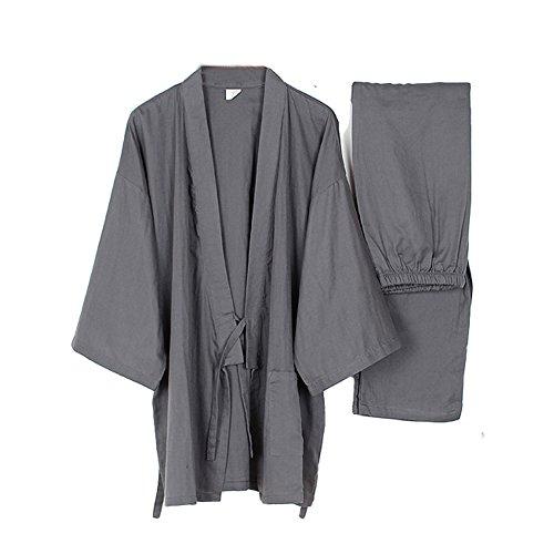 Mannen Japanse stijl gewaden dunne kimono pyjama pak meditatie set-grijs maat M