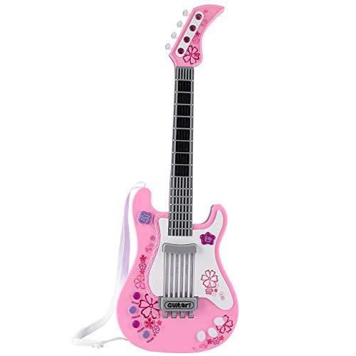 VGEBY1 Gitaarspeelgoed, kinderen basgitaar gift elektrische gitaar speelgoed met geluid en verlichting kindergitaar rockgitaar muziekinstrumenten snaarinstrumenten pedagogisch speelgoed gitaar (roze)