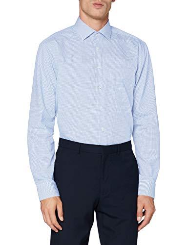 Seidensticker Zakelijk overhemd voor heren, strijkvrij hemd met rechte snit, regular fit, lange mouwen, kentkraag, geruit, borstzak, 100% katoen