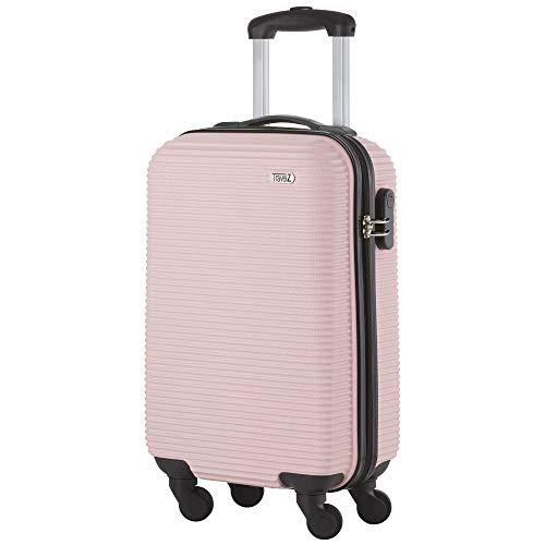 TravelZ Horizon Handbagagekoffer - 54cm Handbagage Trolley met gevoerde binnenkant - Lichtroze