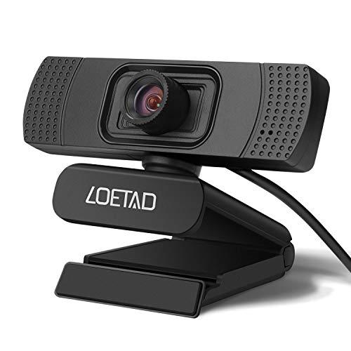 LOETAD Webcam 1080P Full HD pc-camera met microfoon, USB voor videochat, streaming, compatibel met Windows Mac OS (handmatige focus)