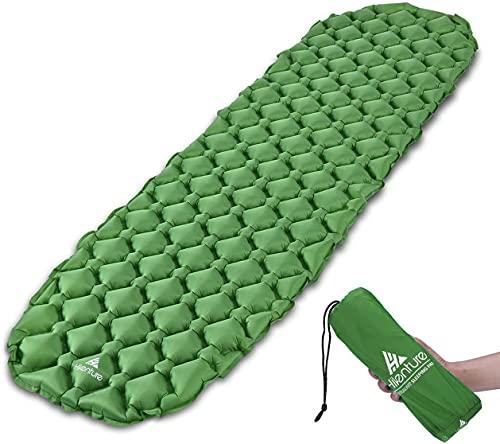 Hikenture Unisex Adult hiken02 Opblaasbare slaapmat voor op de camping, op reis, outdoor, wandelen, strand (groen), kussen, 1