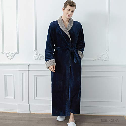 Mannen Badjas, Mannen Blauw Plus Size Extra Lange Warme Flanel Bont Badjas Heren Winter Nachtkleding Mannelijke Hooded Rits Badjas Vrouwen Koraal Dressing Gown, L