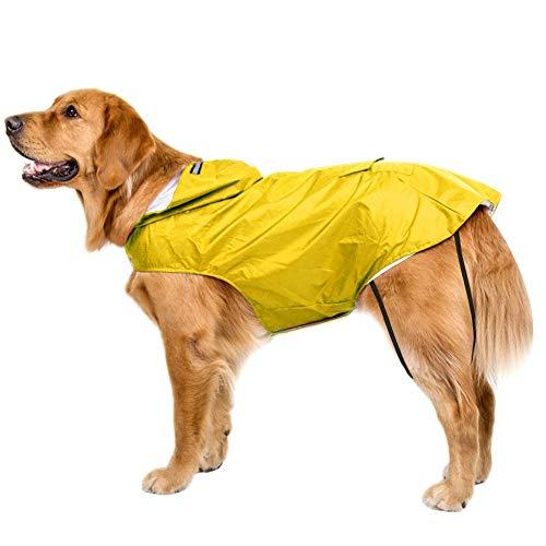 Bwiv Honden Regenjas Waterdichte Hondenjas Grote Gevoerde Ultralight Ademende Hondenjas Reflecterende Strepen Regenjas Honden Met Kap Gelb