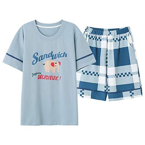 Nachtkleding Voor Heren, Zomer Comfortabel Blauw Vrijetijdsbroek Met Korte Mouwen Pyjama Sets Huiskleding,XXL