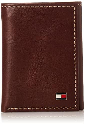Tommy Hilfiger Men's Leather Trifold Wallet,Logan Tan