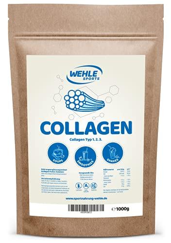 Wehle Sports Collageen poeder, 1 kg, collageen, hydrolysaat peptide, eiwitpoeder, smaakneutraal, made in Germany, collageen type 1, 2, 3 lift drank