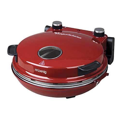 H.Koenig Professionele Elektrische Pizza Oven NAPL350, Mobiel, Multifunctioneel, Pizza, Taarten en Quiches, Grote Keramische Steenplaat, Temperatuur 0 tot 350°C, Timer, Houten Roller en Schep, Rood