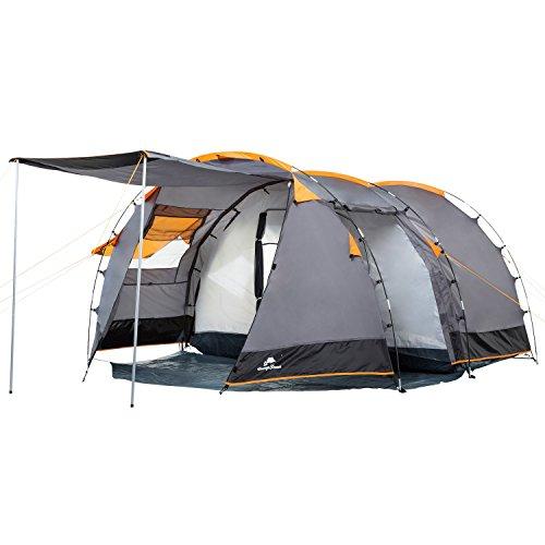 CampFeuer Tunneltent voor 4 personen Super+ | Grote familietent met 2 ingangen en 3.000 mm waterkolom | groepstent | campingtent (grijs)