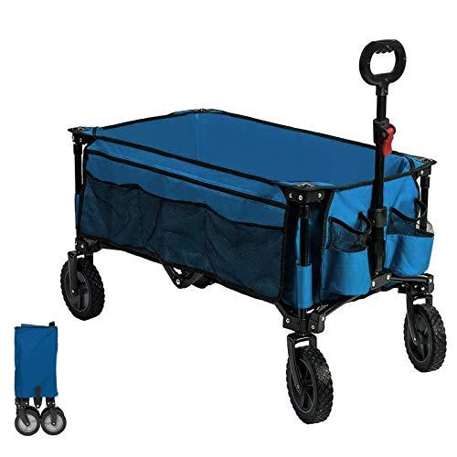 Timber Ridge Bolderkar Opvouwbaar Vouwwagen Transportwagen Strandwagen Tuinwagen Groot Voor Alle Soorten Terrein Met Zijvak Bekerhouder (Blauw, Normaal wiel)