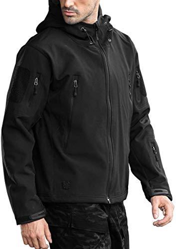 FREE SOLDIER Winterjas voor heren, herfst, fleece, gevoerde softshelljas, outdoor, waterdicht, ski-jas, tactische wandeljas voor de jacht, camping, skiën, zwart, L