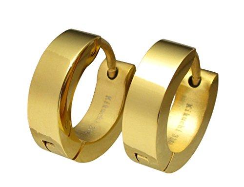Kikuchi ERTS001 Oorstekers, uniseks, titanium, staafjes, creolen, roestvrij staal, goud, hoogglans