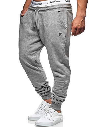 Indicode Eberline joggingbroek voor heren, van 95% katoen, regular fit, trainingsbroek, loopbroek, sportbroek, herenbroek, elastische joggingbroek, sweatpants, vrijetijdsbroek voor mannen, grijs (grey mix), XXL