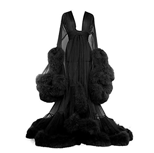 Kimono voor dames, kanten robe volant, lange mouwen, nachtkleding, ochtendjas, badjas, lingerieset met riem, Doorschijnende sexy jurk met uitlopende mouwen met veren,Black