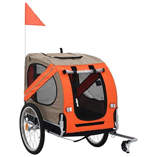 vidaXL Hondenfietskar Oranje Bruin Hondenkar Fietskar Fietswagen Hondentrailer