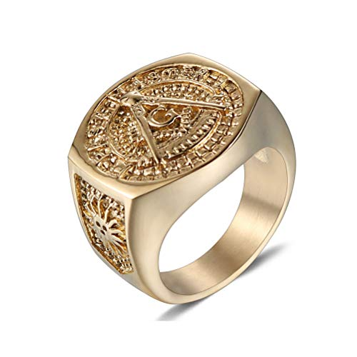 Mannen Vintage Roestvrij Staal Gouden Kleur Ring, AG Masonic Freemason Pattern Free And Geaccepteerd Masons Symbol Signet Band Sieraden, Hip Hop Rock Party Prom Persoonlijkheid Punk Ring,Gold,15