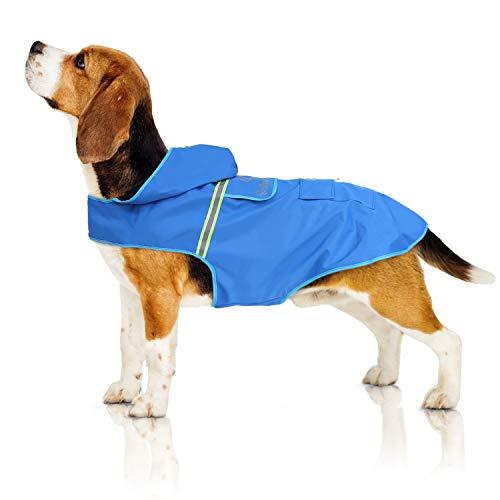 Bella & Balu hondenregenjas - Waterdichte hondenjas met capuchon en reflectoren voor droge, veilige wandelingen, de hondenspeelplaats en vakantie met uw hond (M   blauw)
