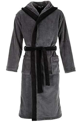 Di Ficchiano Badjas voor heren, Monza met capuchon, ochtendjas, pluizig, nachtkleding van luxe microvezel, kimono met keuze uit kleuren en maten S - 5XL, Bath-Robe Öko-Tex Standard 100, Grijs zwart, M