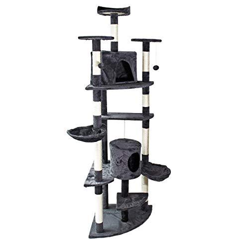 WilTec Donkergrijze hoek kattenboom krabpaal klimboom 200cm met platformen, grotten en hangmatten