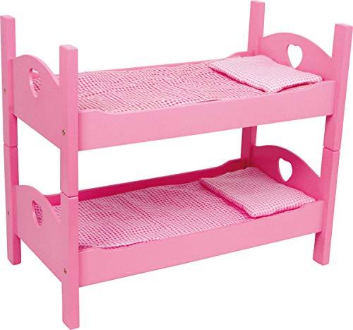 small foot 2871 Eenpersoons-/stapelbed roze van hout met bijpassend geruit beddengoed en matrassen
