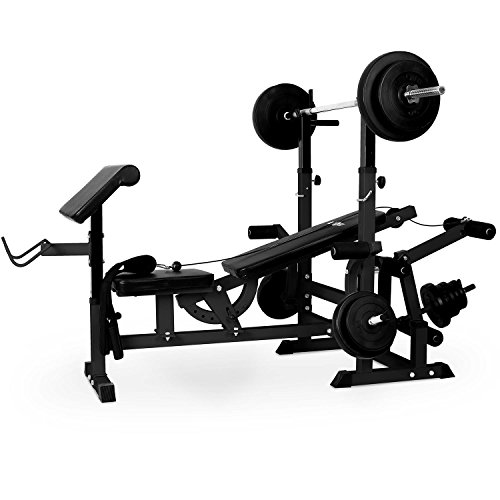Klarfit Workout Hero 300 - krachtstation, fitnessstation, trainingsstation, bankdrukken, trekkabel, krultafel, beenkrultang, vlinder, beklede rugleuning + zitvlak, staal, zwart