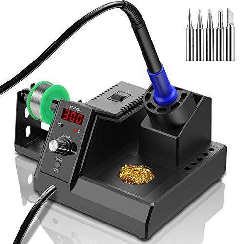 ST2090D Soldeerstation, digitale soldeerboutset met 80 ℃ -480 ℃, snelle opwarmtemperatuur, ESD veilige elektronica soldeerbout met 5 stuks ijzeren punten, soldeerdraad, messingpuntreiniger