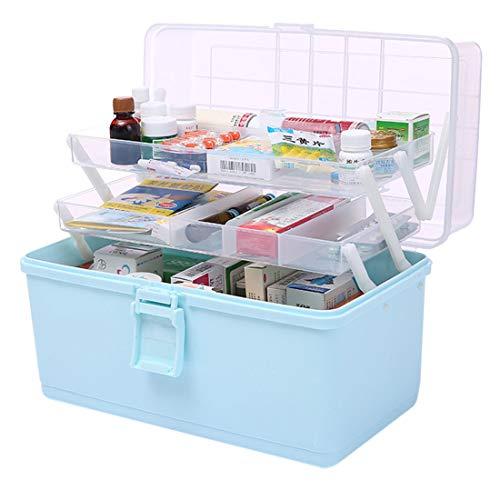Dittzz Medicijndoos, grote medicijndoos, 3 niveaus, EHBO-koffer, multifunctionele opbergdoos met draaggreep, 34 x 28 x 22,5 cm