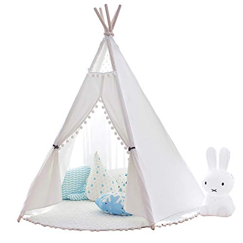 little dove Tipi speeltent voor kinderen, natuurlijk katoenen doek, kindertent, speelhuis, met mat