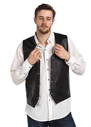 Derisitesi Mens echt leer traditionele stijl klassieke vest Gilet Vest zwart