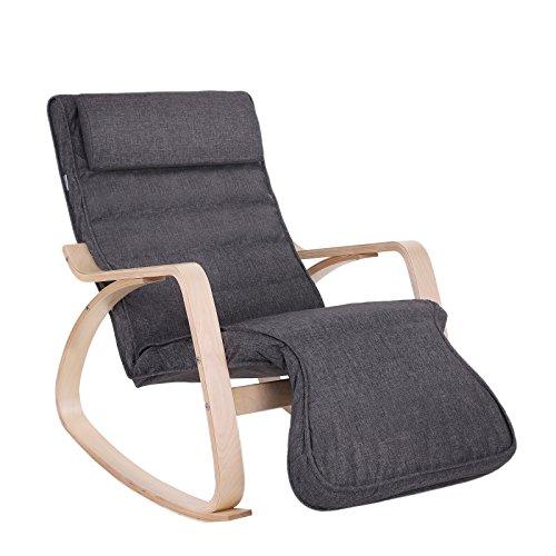 SONGMICS schommelstoel, schommelstoel met 5-voudig verstelbare voetsteun, relaxfauteuil, max. belasting 150 kg, frame van berkenhout, bekleding van imitatielinnen, donkergrijs LY42GYZ