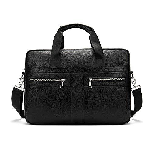 FANDARE Heren laptop-aktetas lederen handtas business schoudertas waterdicht crossbody Messenger Bags, zwart, Large, actentas