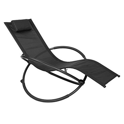 WOLTU Chaise Longues voor Buiten Relax Ademende Schommelstoel voor Balkon Camping Zonnebank met Armleuningen en Hoofdsteun, Zwart, LS002sz
