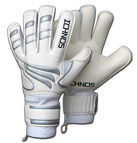 ICHNOS Efis Novus Voetbal keepershandschoenen met vinger plaatjes Wit/Zilver (9)