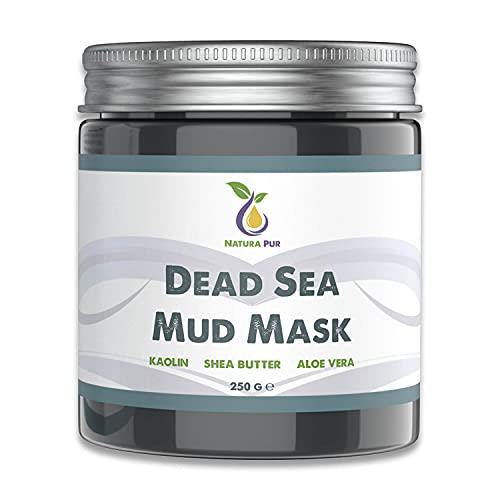 Gezichtsmasker met modder uit de Dode Zee 250g, biologisch en veganistisch - Werkt tegen puistjes, mee-eters en acne - anti-aging verzorging voor een droge en onzuivere huid - moddermasker voor gezicht en lichaam