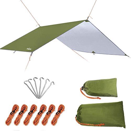 Unigear camping tentzeil, tarp voor hangmat, kampeertent tarp,300cmx300/400/500cm, regenbescherming, zonwering voor outdoor, camping
