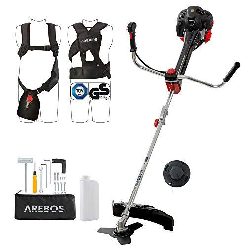 Arebos Premium benzine 2-in-1 grastrimmer   bosmaaier, 3 pk, 52 ccm met professioneel vest anti-vibratiesysteem en ergonomische handgrepen